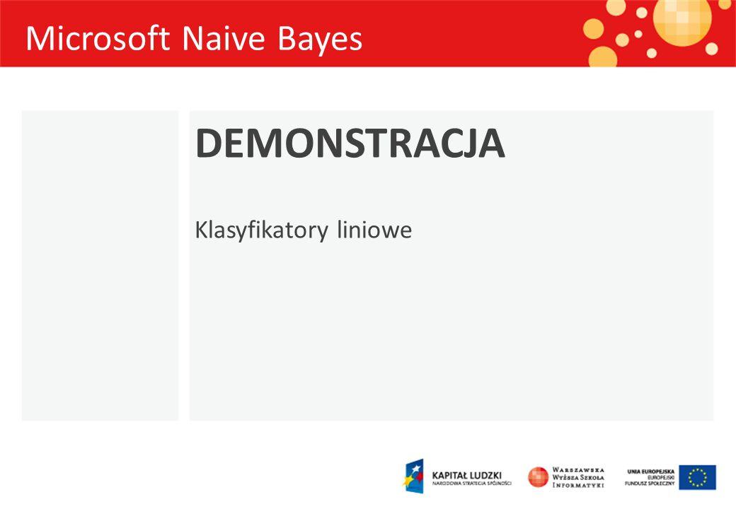 Microsoft Naive Bayes DEMONSTRACJA Klasyfikatory liniowe