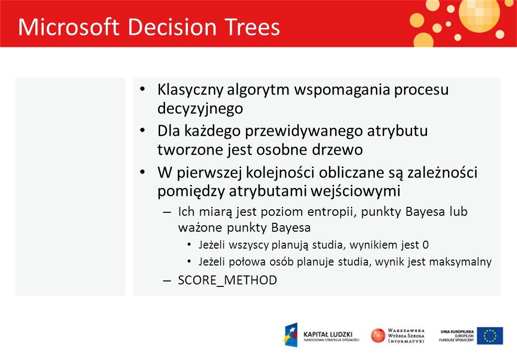 Microsoft Decision Trees Wybierany jest atrybut którego podział wyznaczy korzeń drzewa Następnie przeprowadzany jest rekurencyjny podział danych na podzbiory – Każdy atrybut wejściowy ma wpływ na podział COMPLEXITY_PENALTY Jeżeli przewidywany atrybut jest ciągły, przeprowadzana jest regresja – Reguła regresji będzie inna dla każdego węzła drzewa FORCE_REGRESSOR