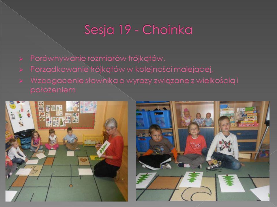 Porównywanie rozmiarów trójkątów, Porządkowanie trójkątów w kolejności malejącej, Wzbogacenie słownika o wyrazy związane z wielkością i położeniem
