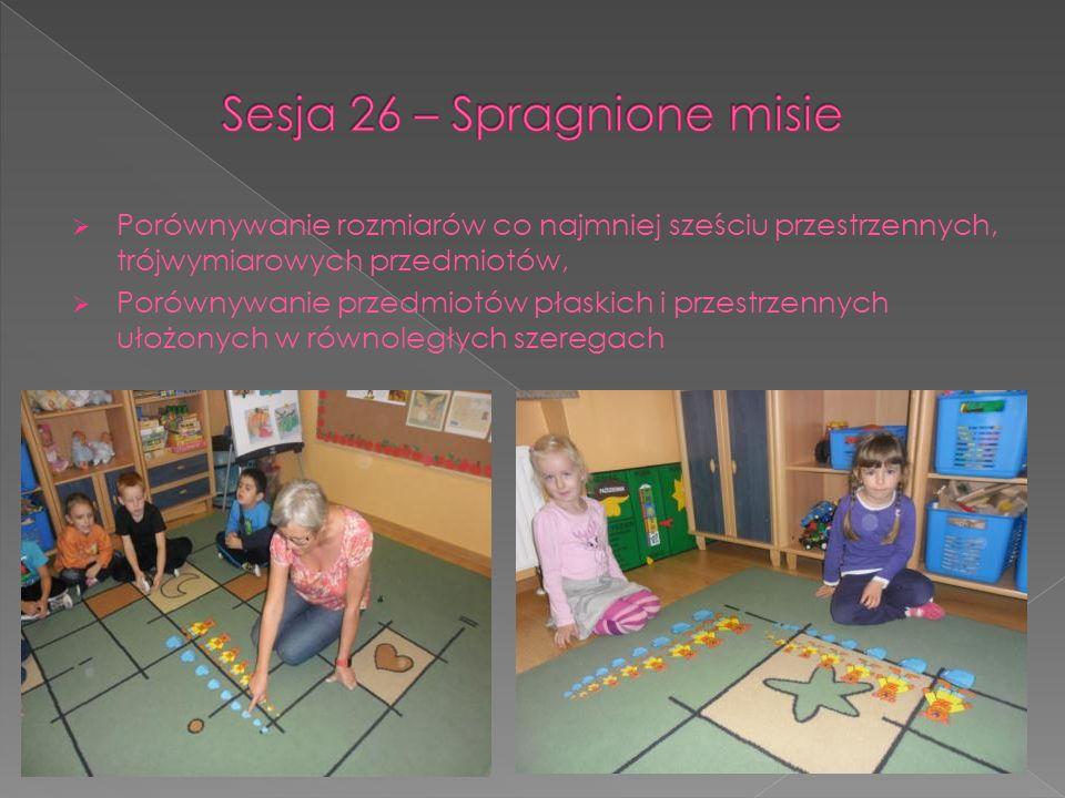 Porównywanie rozmiarów co najmniej sześciu przestrzennych, trójwymiarowych przedmiotów, Porównywanie przedmiotów płaskich i przestrzennych ułożonych w