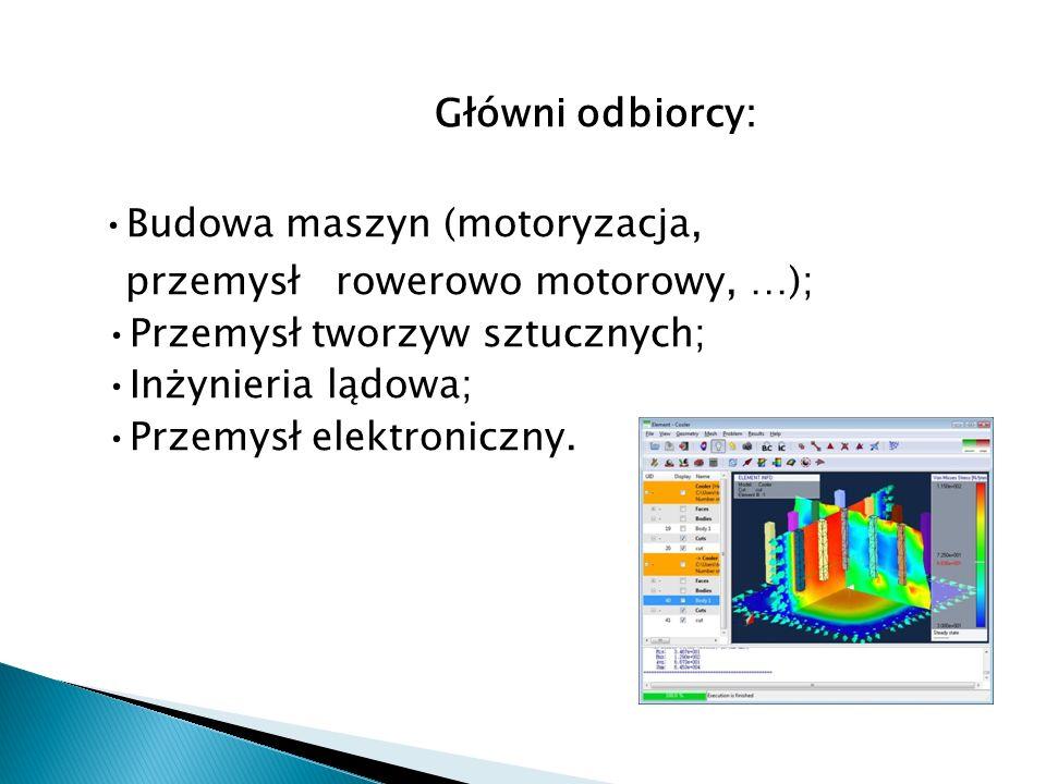 Główni odbiorcy: Budowa maszyn (motoryzacja, przemysł rowerowo motorowy, …); Przemysł tworzyw sztucznych; Inżynieria lądowa; Przemysł elektroniczny.