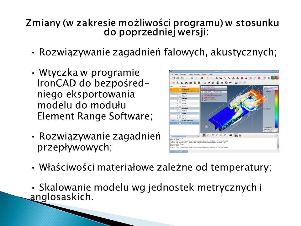 Zmiany (w zakresie możliwości programu) w stosunku do poprzedniej wersji: Rozwiązywanie zagadnień falowych, akustycznych; Wtyczka w programie IronCAD
