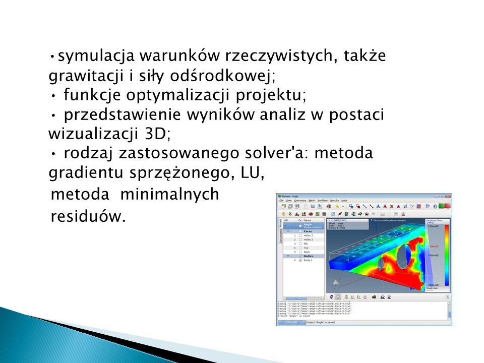 symulacja warunków rzeczywistych, także grawitacji i siły odśrodkowej; funkcje optymalizacji projektu; przedstawienie wyników analiz w postaci wizuali