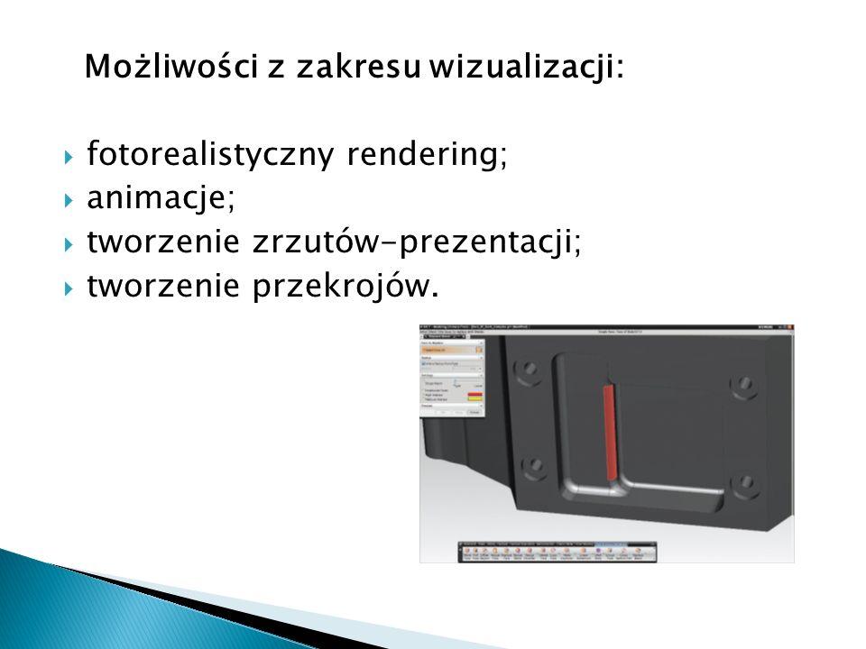Możliwości z zakresu wizualizacji: fotorealistyczny rendering; animacje; tworzenie zrzutów-prezentacji; tworzenie przekrojów.