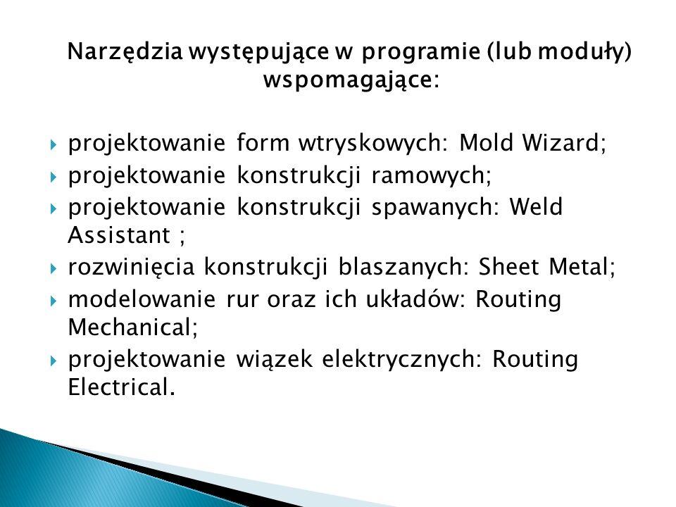 Narzędzia występujące w programie (lub moduły) wspomagające: projektowanie form wtryskowych: Mold Wizard; projektowanie konstrukcji ramowych; projekto