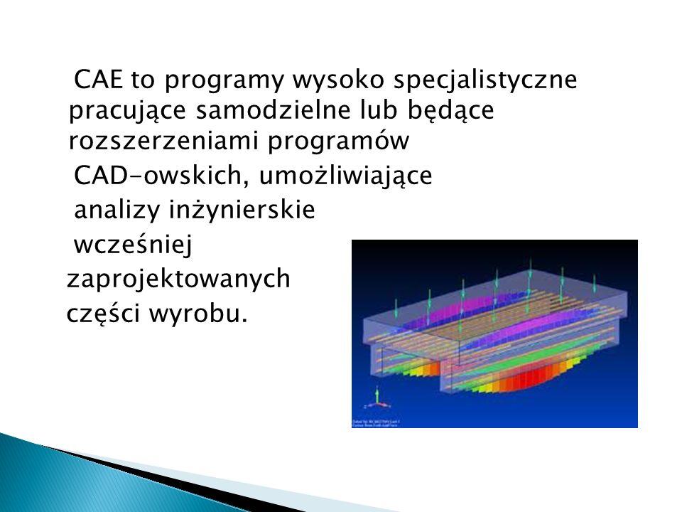 CAE to programy wysoko specjalistyczne pracujące samodzielne lub będące rozszerzeniami programów CAD-owskich, umożliwiające analizy inżynierskie wcześ