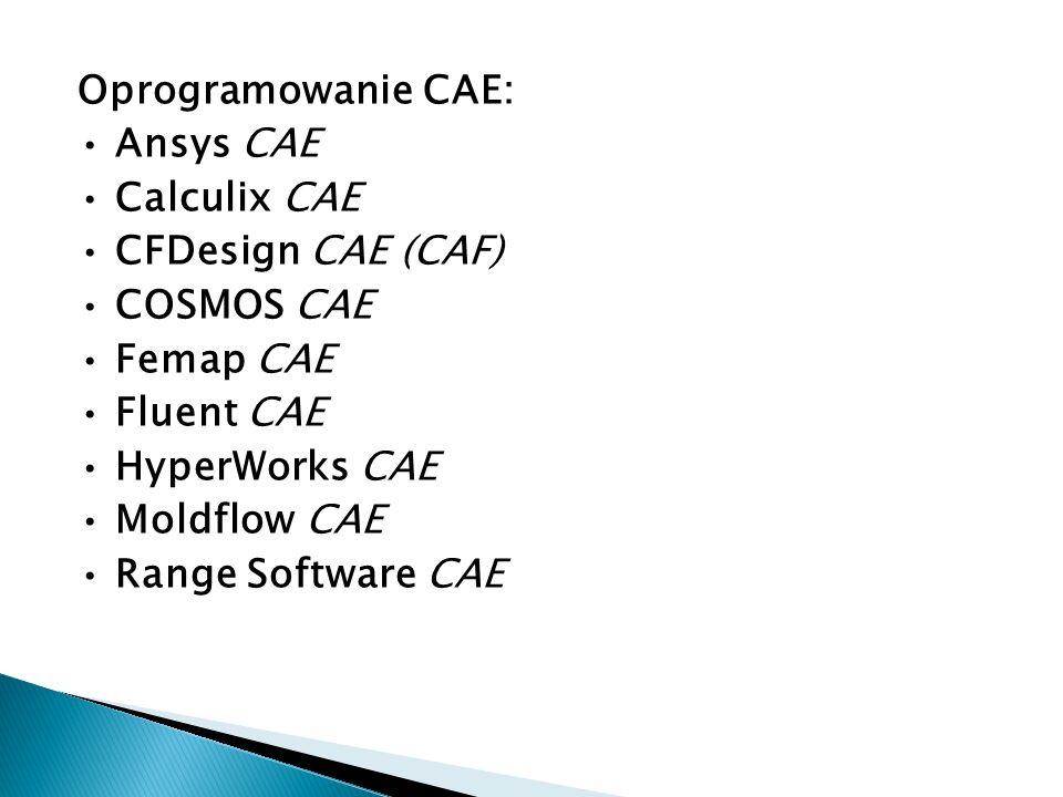 Oprogramowanie CAE: Ansys CAE Calculix CAE CFDesign CAE (CAF) COSMOS CAE Femap CAE Fluent CAE HyperWorks CAE Moldflow CAE Range Software CAE