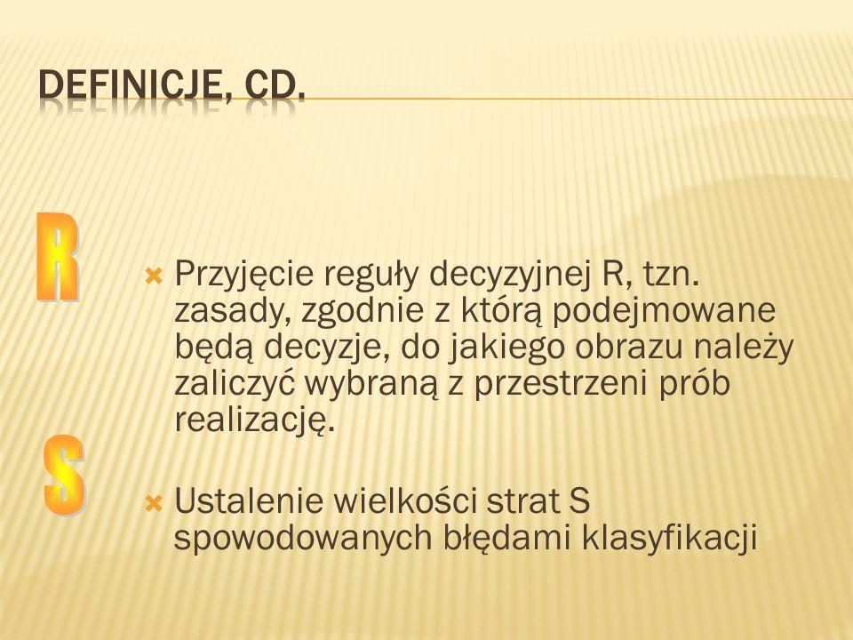 Przyjęcie reguły decyzyjnej R, tzn. zasady, zgodnie z którą podejmowane będą decyzje, do jakiego obrazu należy zaliczyć wybraną z przestrzeni prób rea