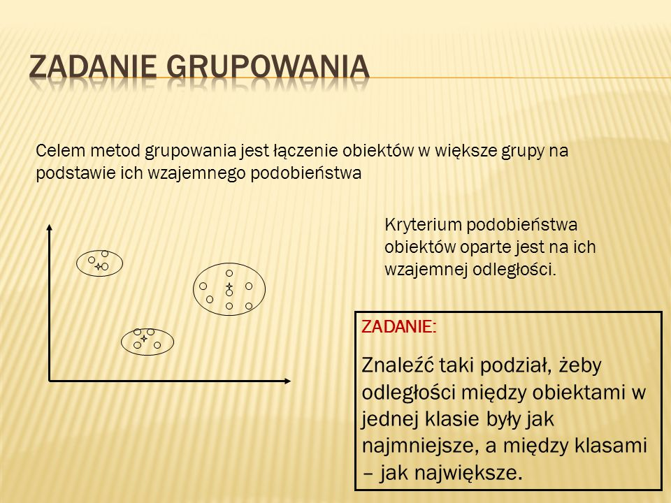 Celem metod grupowania jest łączenie obiektów w większe grupy na podstawie ich wzajemnego podobieństwa Kryterium podobieństwa obiektów oparte jest na