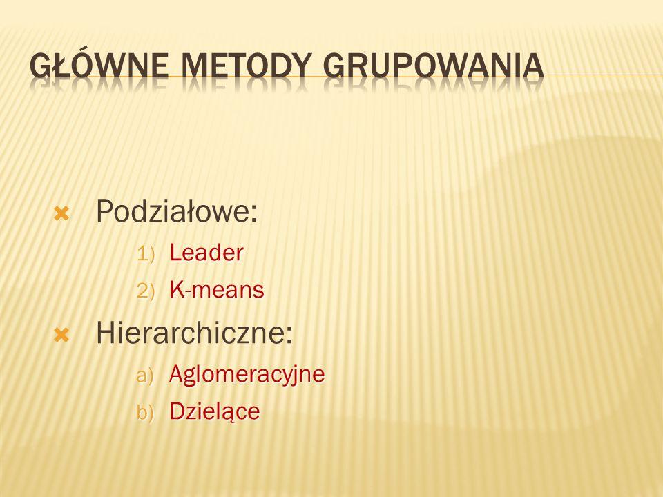 Podziałowe: 1) Leader 2) K-means Hierarchiczne: a) Aglomeracyjne b) Dzielące