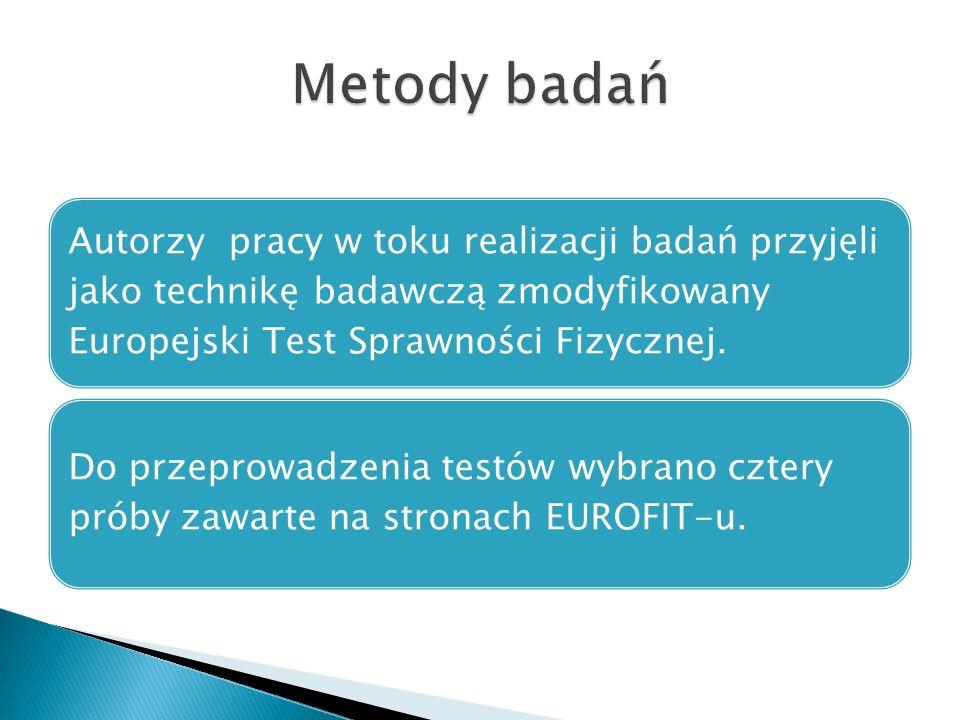 Autorzy pracy w toku realizacji badań przyjęli jako technikę badawczą zmodyfikowany Europejski Test Sprawności Fizycznej. Do przeprowadzenia testów wy