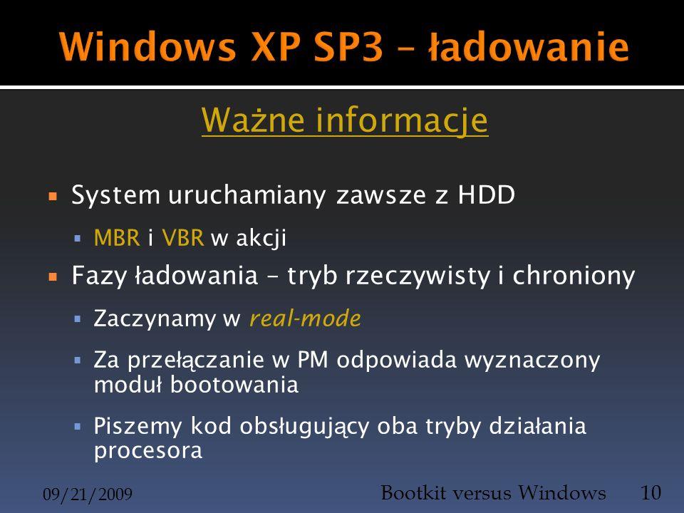Wa ż ne informacje System uruchamiany zawsze z HDD MBR i VBR w akcji Fazy ł adowania – tryb rzeczywisty i chroniony Zaczynamy w real-mode Za prze łą c