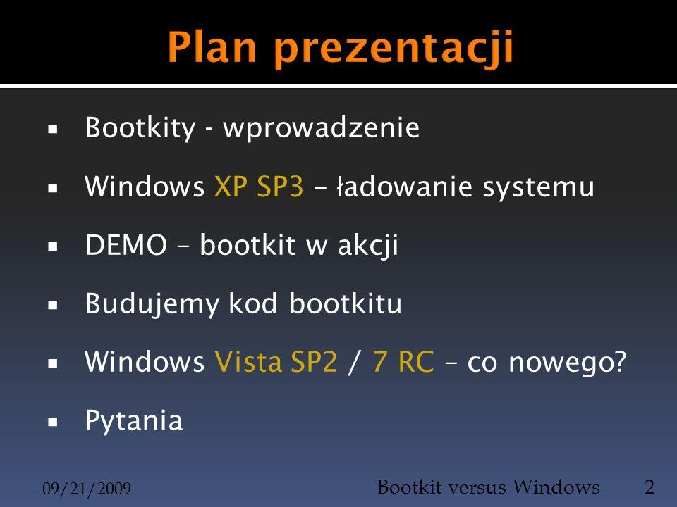Bootkity - wprowadzenie Windows XP SP3 – ł adowanie systemu DEMO – bootkit w akcji Budujemy kod bootkitu Windows Vista SP2 / 7 RC – co nowego? Pytania