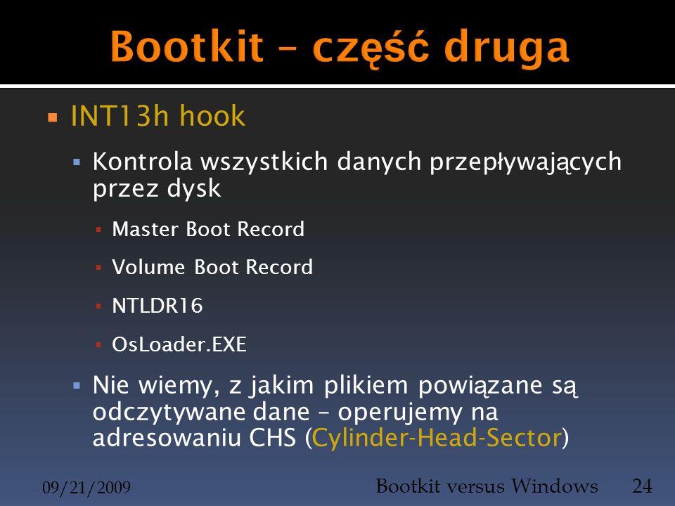 INT13h hook Kontrola wszystkich danych przep ł ywaj ą cych przez dysk Master Boot Record Volume Boot Record NTLDR16 OsLoader.EXE Nie wiemy, z jakim pl