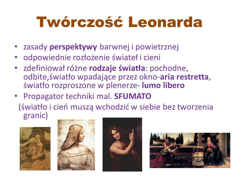 Twórczość Leonarda zasady perspektywy barwnej i powietrznej odpowiednie rozłożenie świateł i cieni zdefiniował różne rodzaje światła: pochodne, odbite