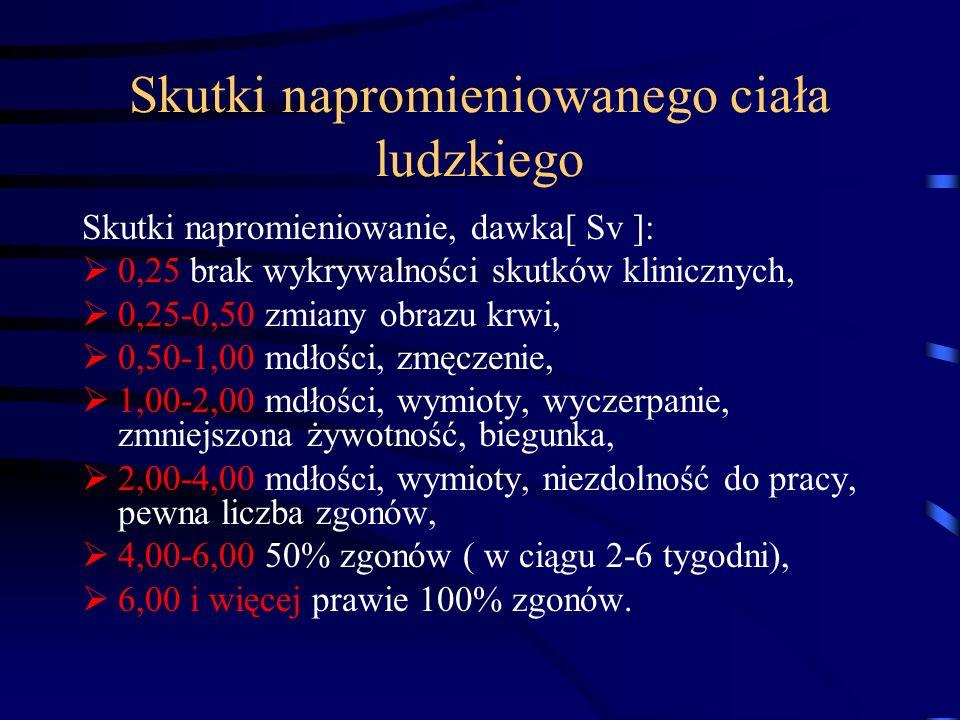 Skutki napromieniowanego ciała ludzkiego Skutki napromieniowanie, dawka[ Sv ]: 0,25 brak wykrywalności skutków klinicznych, 0,25-0,50 zmiany obrazu kr