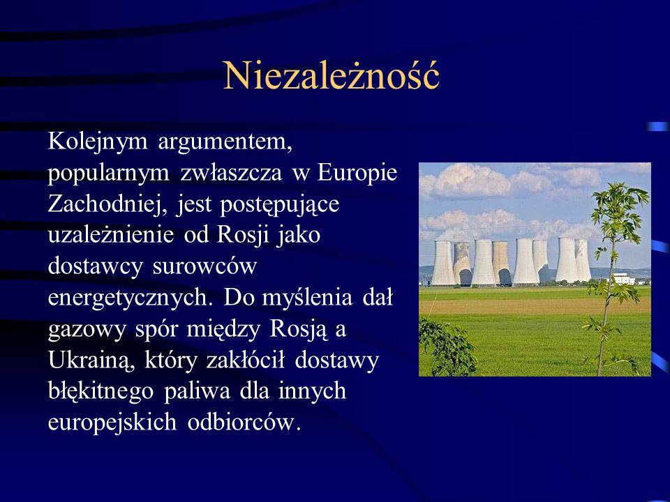 Niezależność Kolejnym argumentem, popularnym zwłaszcza w Europie Zachodniej, jest postępujące uzależnienie od Rosji jako dostawcy surowców energetyczn