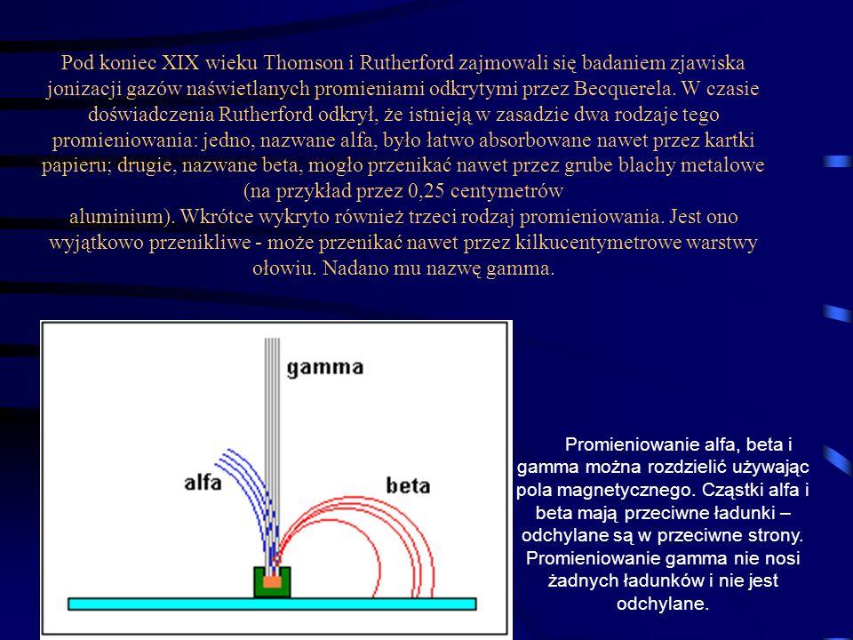 Pod koniec XIX wieku Thomson i Rutherford zajmowali się badaniem zjawiska jonizacji gazów naświetlanych promieniami odkrytymi przez Becquerela. W czas