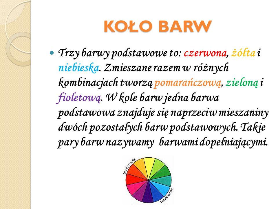 KOŁO BARW Trzy barwy podstawowe to: czerwona, żółta i niebieska. Zmieszane razem w różnych kombinacjach tworzą pomarańczową, zieloną i fioletową. W ko