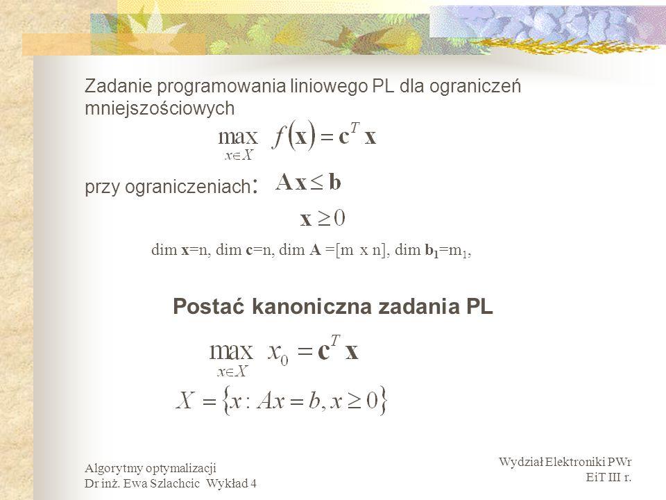 Wydział Elektroniki PWr EiT III r. Algorytmy optymalizacji Dr inż. Ewa Szlachcic Wykład 4 Zadanie programowania liniowego PL dla ograniczeń mniejszośc