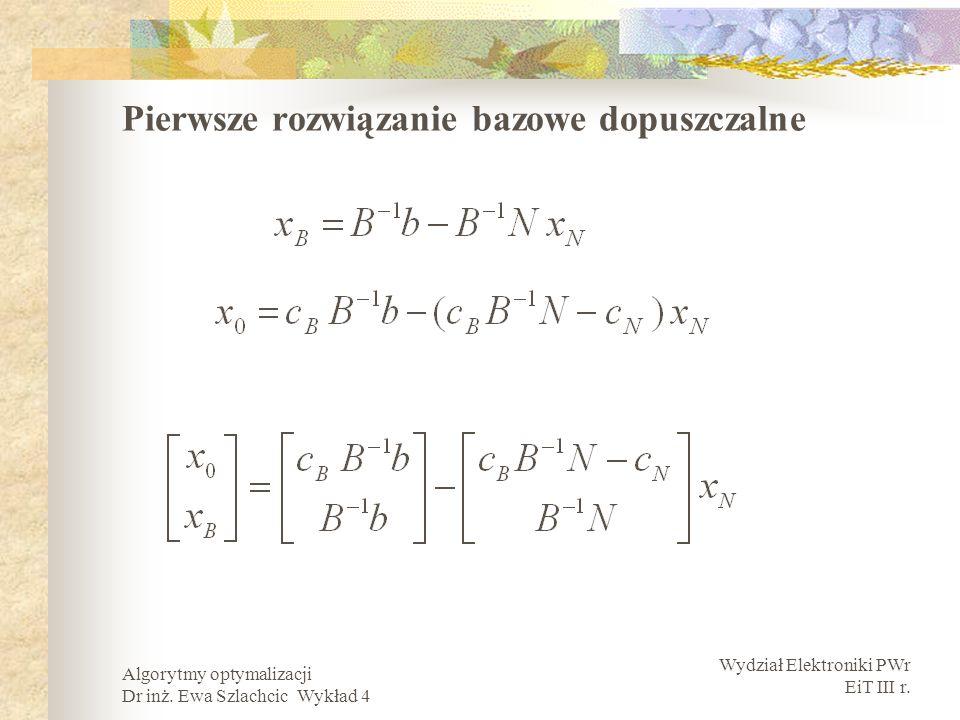 Wydział Elektroniki PWr EiT III r. Algorytmy optymalizacji Dr inż. Ewa Szlachcic Wykład 4 Pierwsze rozwiązanie bazowe dopuszczalne