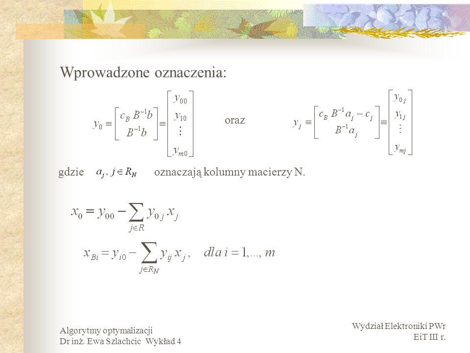 Wydział Elektroniki PWr EiT III r. Algorytmy optymalizacji Dr inż. Ewa Szlachcic Wykład 4 Wprowadzone oznaczenia: oraz gdzie oznaczają kolumny macierz