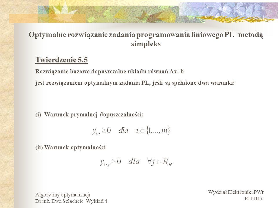 Wydział Elektroniki PWr EiT III r. Algorytmy optymalizacji Dr inż. Ewa Szlachcic Wykład 4 Optymalne rozwiązanie zadania programowania liniowego PL met