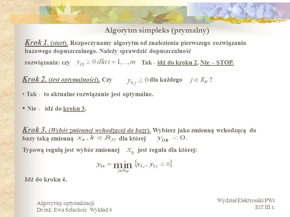 Wydział Elektroniki PWr EiT III r. Algorytmy optymalizacji Dr inż. Ewa Szlachcic Wykład 4 Algorytm simpleks (prymalny) Krok 1. (start). Rozpoczynamy a