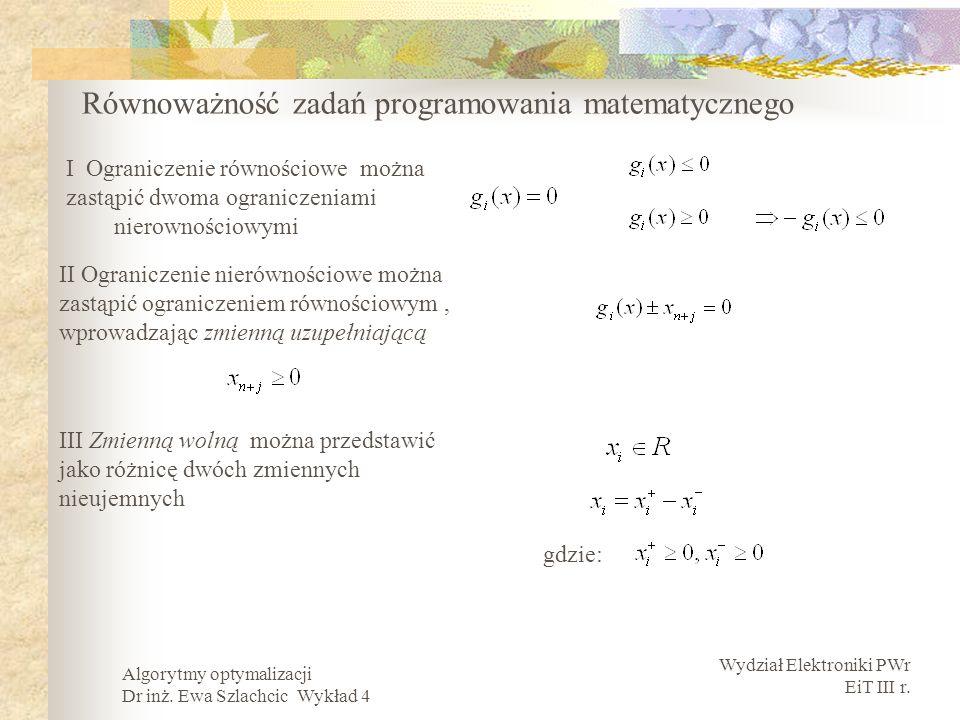 Wydział Elektroniki PWr EiT III r. Algorytmy optymalizacji Dr inż. Ewa Szlachcic Wykład 4 Równoważność zadań programowania matematycznego I Ograniczen