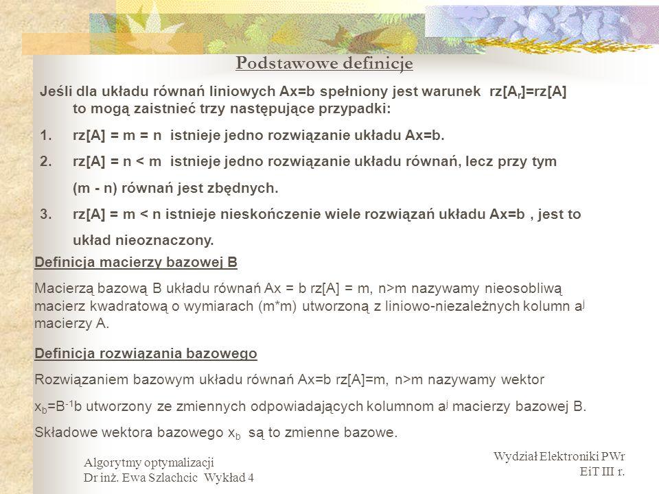 Wydział Elektroniki PWr EiT III r. Algorytmy optymalizacji Dr inż. Ewa Szlachcic Wykład 4 Podstawowe definicje Jeśli dla układu równań liniowych Ax=b