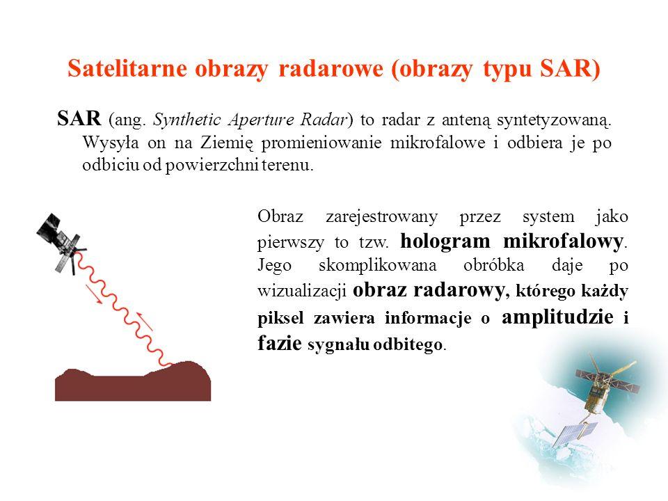 Satelitarne obrazy radarowe (obrazy typu SAR) SAR (ang.