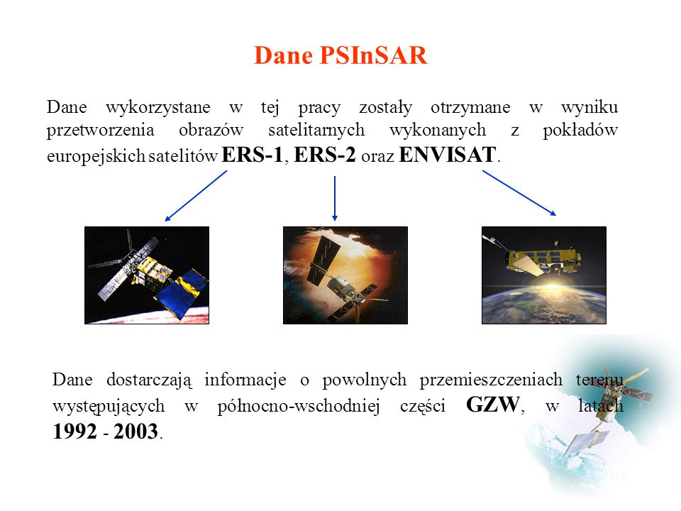Dane PSInSAR Dane dostarczają informacje o powolnych przemieszczeniach terenu występujących w północno-wschodniej części GZW, w latach 1992 - 2003.