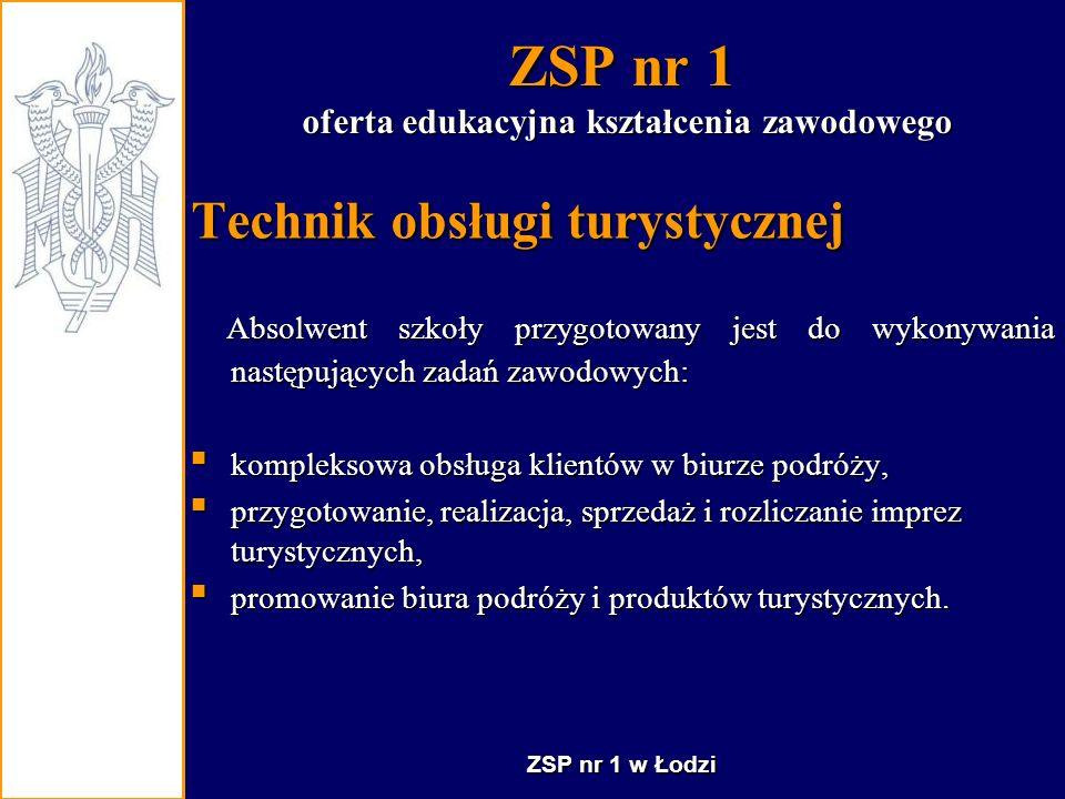 ZSP nr 1 Technik hotelarstwa Technik ekonomista Technik obsługi turystycznej 4 - letni cykl kształcenia Nauka kończy się: egzaminem maturalnym egzaminem potwierdzającym kwalifikacje zawodowe.