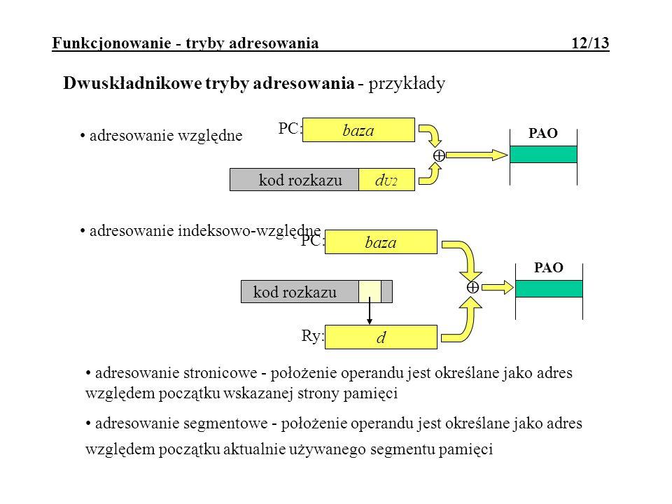 Funkcjonowanie - tryby adresowania 12/13 Dwuskładnikowe tryby adresowania - przykłady PC: adresowanie indeksowo-względne d kod rozkazu PAO baza Ry: adresowanie względne baza kod rozkazud U2 PAO PC: adresowanie stronicowe - położenie operandu jest określane jako adres względem początku wskazanej strony pamięci adresowanie segmentowe - położenie operandu jest określane jako adres względem początku aktualnie używanego segmentu pamięci