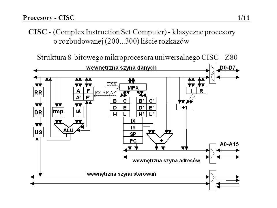 Procesory - CISC 1/11 CISC - (Complex Instruction Set Computer) - klasyczne procesory o rozbudowanej (200...300) liście rozkazów Struktura 8-bitowego mikroprocesora uniwersalnego CISC - Z80