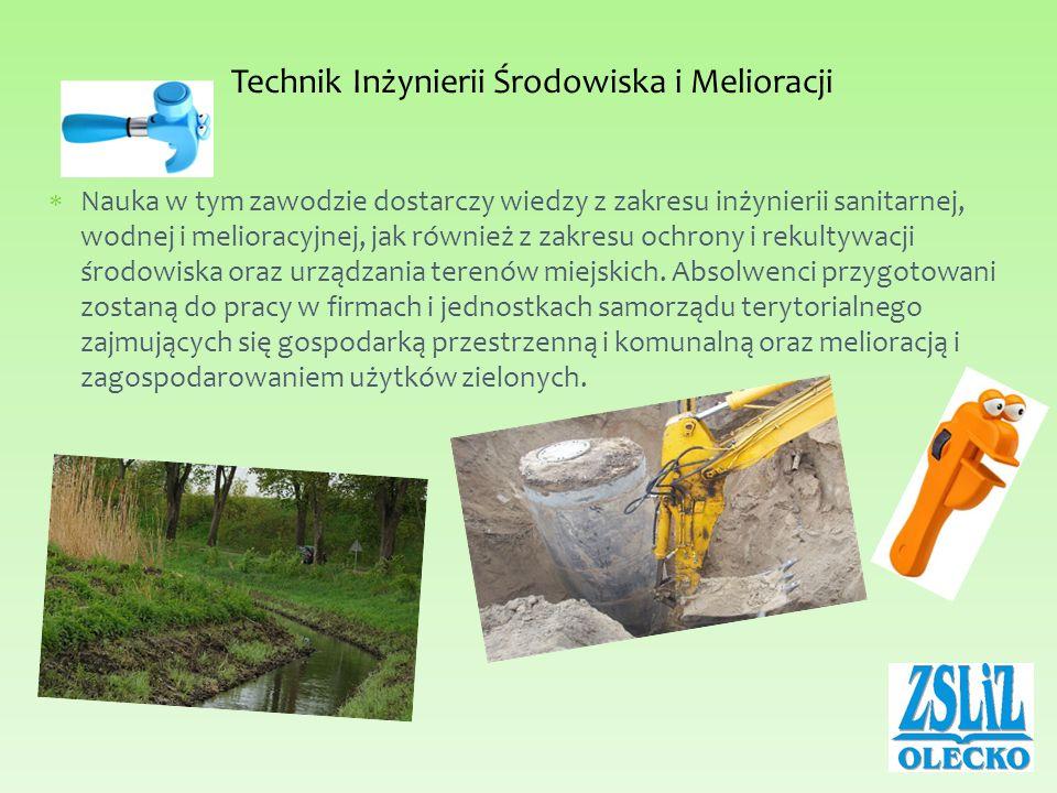 Nauka w tym zawodzie dostarczy wiedzy z zakresu inżynierii sanitarnej, wodnej i melioracyjnej, jak również z zakresu ochrony i rekultywacji środowiska oraz urządzania terenów miejskich.