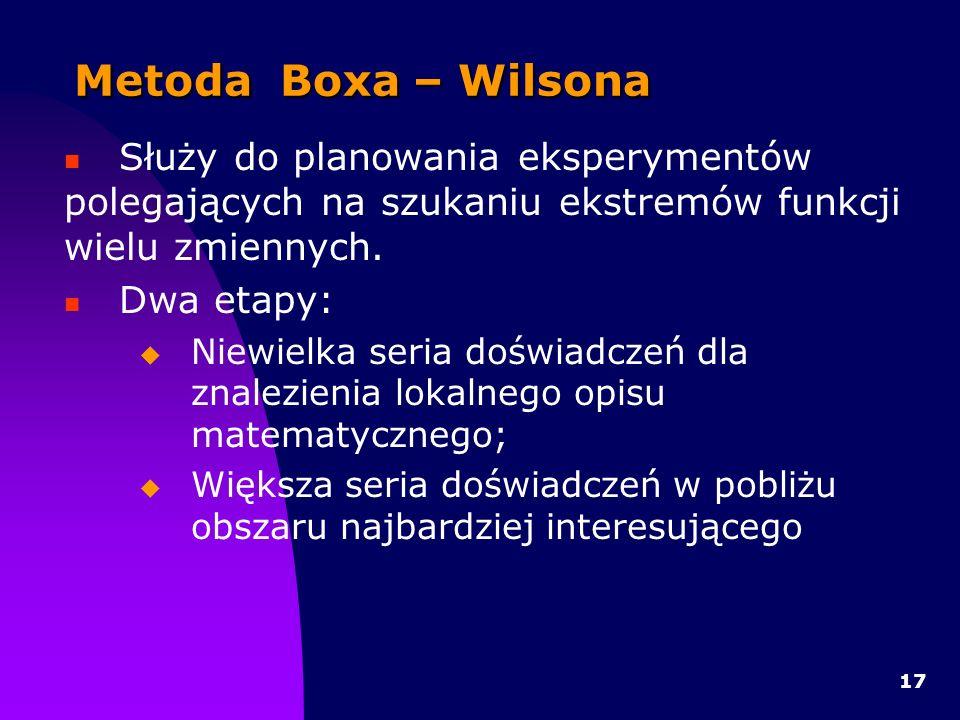 17 Metoda Boxa – Wilsona Służy do planowania eksperymentów polegających na szukaniu ekstremów funkcji wielu zmiennych.