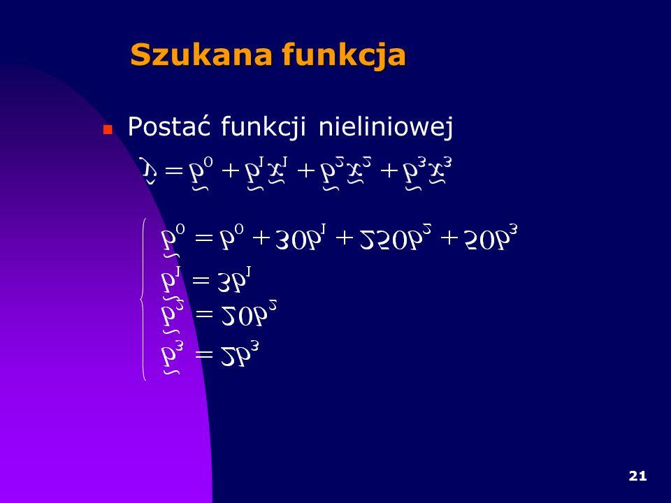 21 Szukana funkcja Postać funkcji nieliniowej