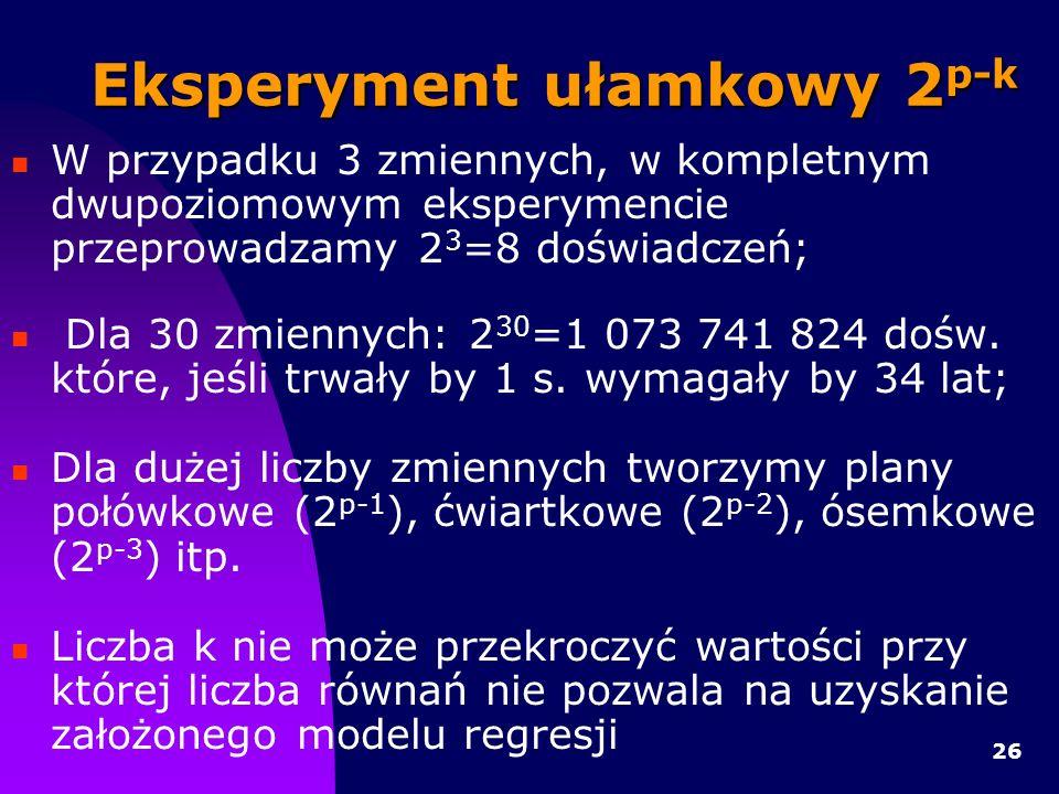 26 Eksperyment ułamkowy 2 p-k W przypadku 3 zmiennych, w kompletnym dwupoziomowym eksperymencie przeprowadzamy 2 3 =8 doświadczeń; Dla 30 zmiennych: 2 30 =1 073 741 824 dośw.