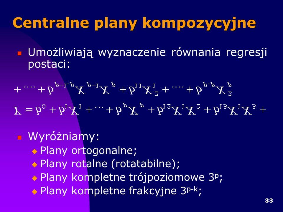 33 Centralne plany kompozycyjne Umożliwiają wyznaczenie równania regresji postaci: Wyróżniamy: Plany ortogonalne; Plany rotalne (rotatabilne); Plany kompletne trójpoziomowe 3 p ; Plany kompletne frakcyjne 3 p-k ;