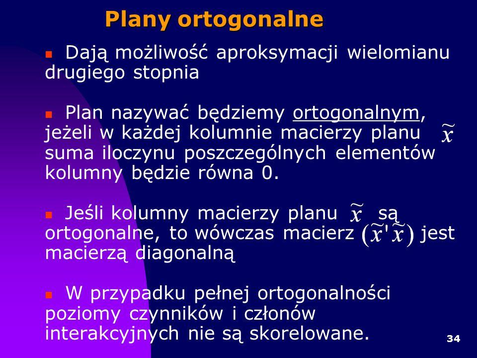 34 Plany ortogonalne Dają możliwość aproksymacji wielomianu drugiego stopnia Plan nazywać będziemy ortogonalnym, jeżeli w każdej kolumnie macierzy planu suma iloczynu poszczególnych elementów kolumny będzie równa 0.