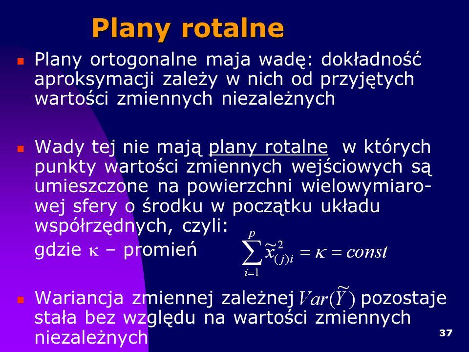37 Plany rotalne Plany ortogonalne maja wadę: dokładność aproksymacji zależy w nich od przyjętych wartości zmiennych niezależnych Wady tej nie mają plany rotalne w których punkty wartości zmiennych wejściowych są umieszczone na powierzchni wielowymiaro- wej sfery o środku w początku układu współrzędnych, czyli: gdzie – promień Wariancja zmiennej zależnej pozostaje stała bez względu na wartości zmiennych niezależnych