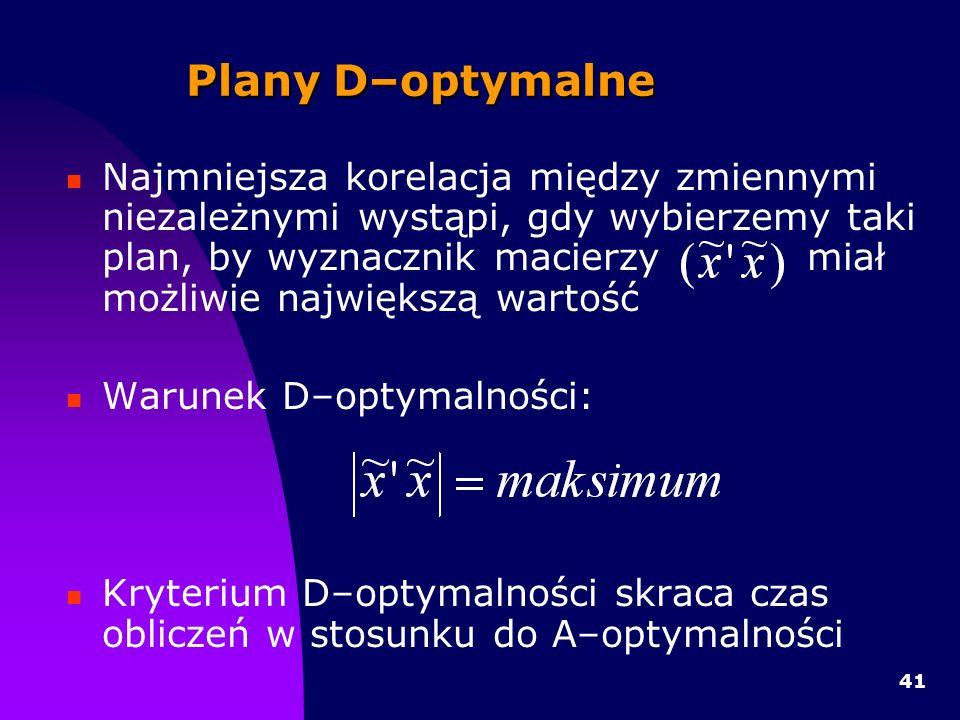 41 Plany D–optymalne Najmniejsza korelacja między zmiennymi niezależnymi wystąpi, gdy wybierzemy taki plan, by wyznacznik macierzy miał możliwie największą wartość Warunek D–optymalności: Kryterium D–optymalności skraca czas obliczeń w stosunku do A–optymalności