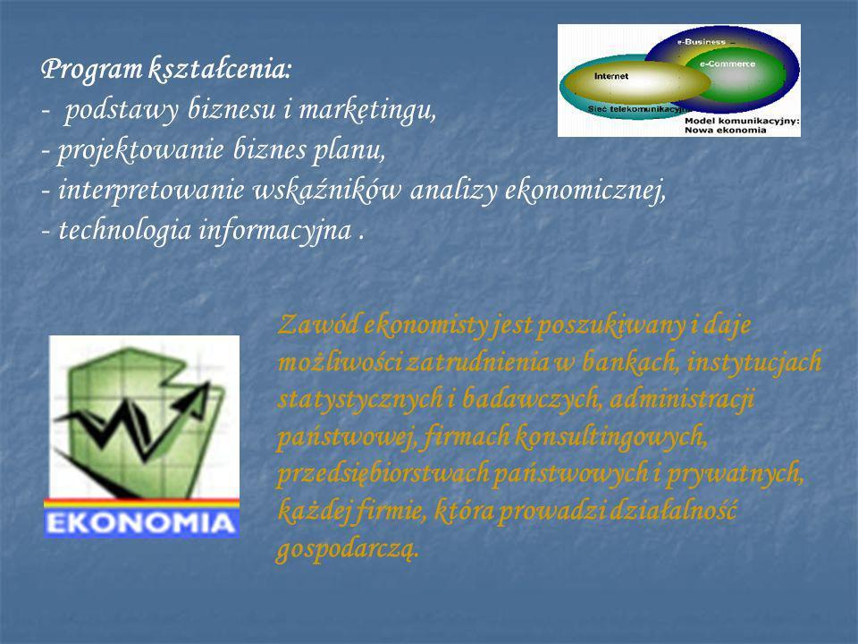 Program kształcenia: - podstawy biznesu i marketingu, - projektowanie biznes planu, - interpretowanie wskaźników analizy ekonomicznej, - technologia informacyjna.