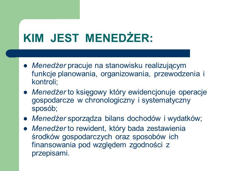 KIM JEST MENEDŻER: Menedżer pracuje na stanowisku realizującym funkcje planowania, organizowania, przewodzenia i kontroli; Menedżer to księgowy który