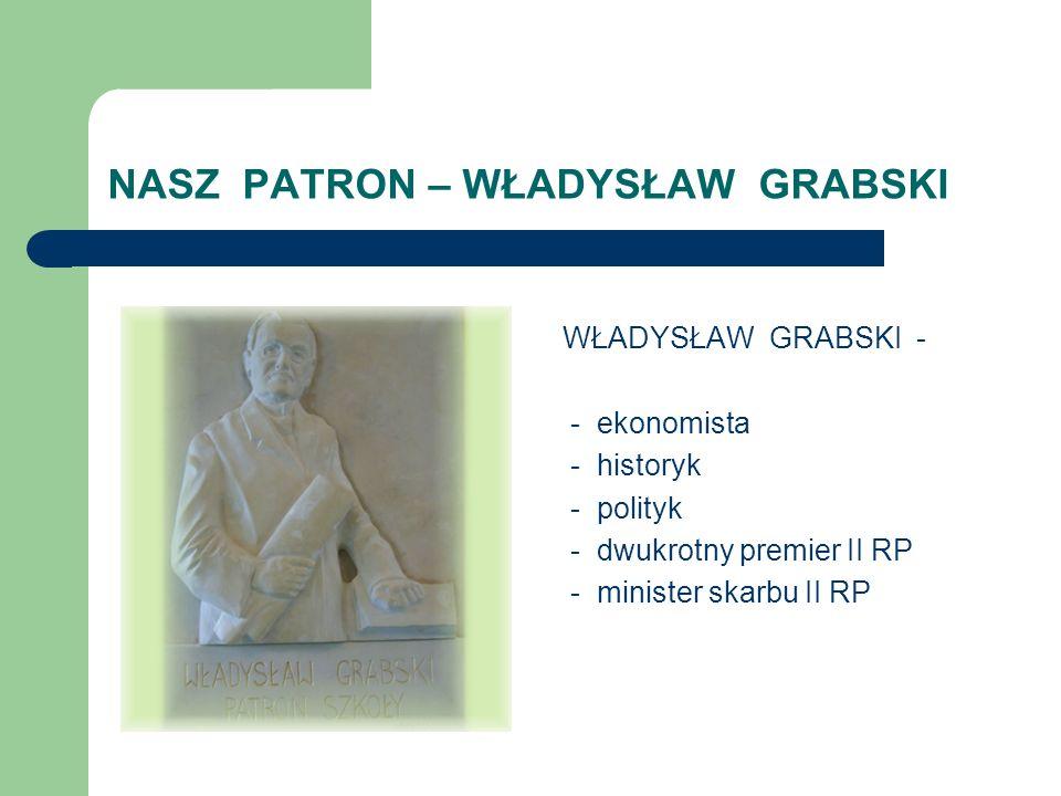 NASZ PATRON – WŁADYSŁAW GRABSKI WŁADYSŁAW GRABSKI - - ekonomista - historyk - polityk - dwukrotny premier II RP - minister skarbu II RP