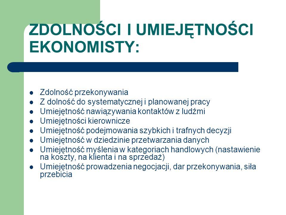 ZDOLNOŚCI I UMIEJĘTNOŚCI EKONOMISTY: Zdolność przekonywania Z dolność do systematycznej i planowanej pracy Umiejętność nawiązywania kontaktów z ludźmi