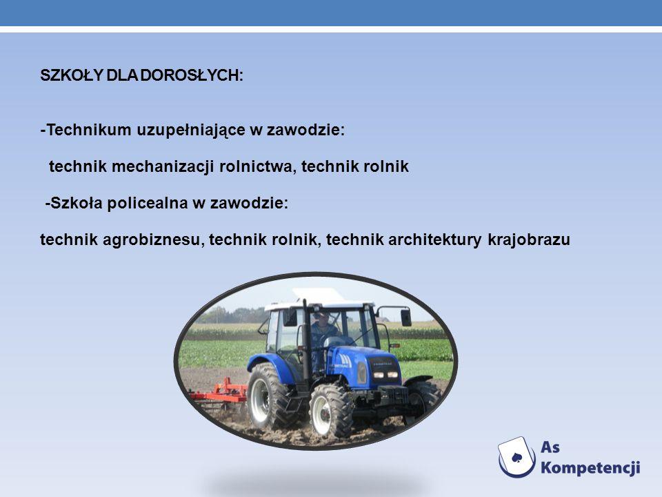 -Technikum uzupełniające w zawodzie: technik mechanizacji rolnictwa, technik rolnik -Szkoła policealna w zawodzie: technik agrobiznesu, technik rolnik