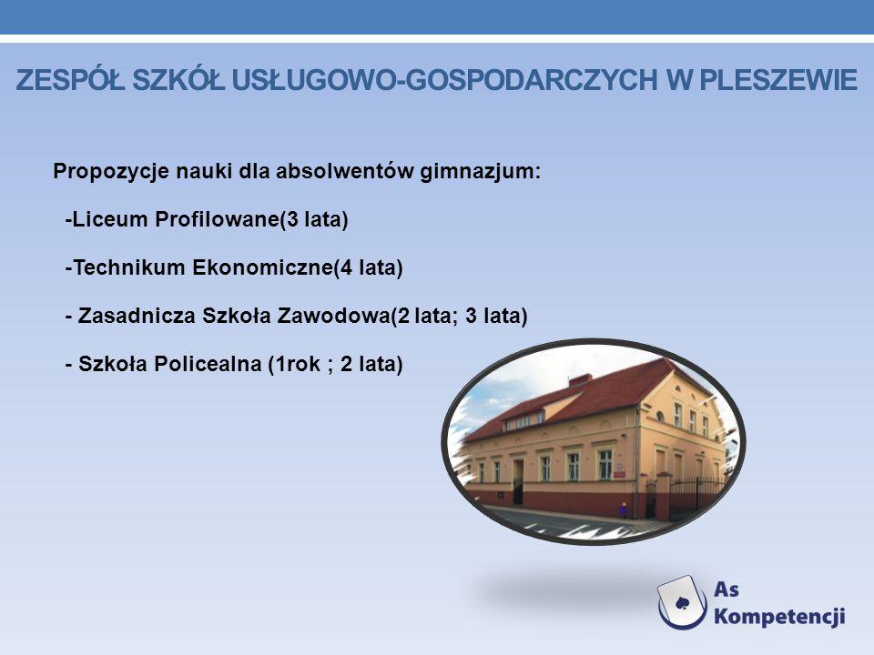 Propozycje nauki dla absolwentów gimnazjum: -Liceum Profilowane(3 lata) -Technikum Ekonomiczne(4 lata) - Zasadnicza Szkoła Zawodowa(2 lata; 3 lata) -