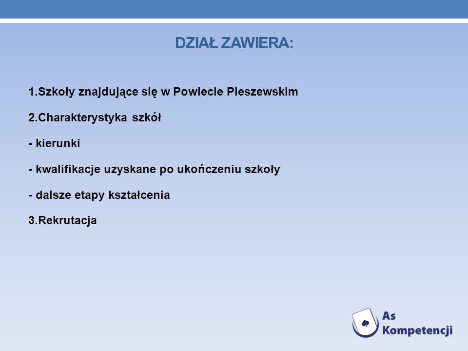 1.Szkoły znajdujące się w Powiecie Pleszewskim 2.Charakterystyka szkół - kierunki - kwalifikacje uzyskane po ukończeniu szkoły - dalsze etapy kształce